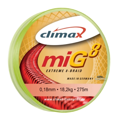 Climax miG 8 extreme 8-Braid fluo gelb (10m) 0,16mm